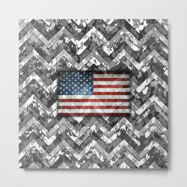 Black and White Digital Camo Patriotic Chevrons American Flag Metal Print