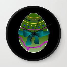 Egg green and blue Bow 03 Wall Clock