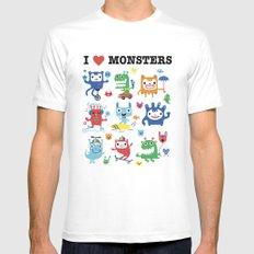 Monster Love White Mens Fitted Tee MEDIUM