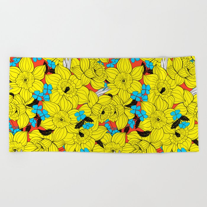 Daffodils spring floral pattern Beach Towel