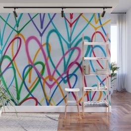 Multicoloured Love Hearts Graffiti Repeat Pattern Wall Mural