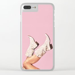 These Boots - Glitter Pink Clear iPhone Case