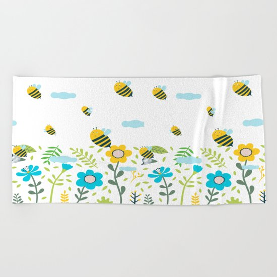 Bee Flaying Beach Towel