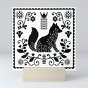 Woodland Folk Black And White Fox Tile by sunnybunny