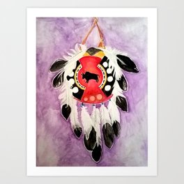 Blackfoot Indian Warrior Shield Art Print