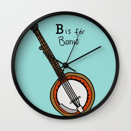 B is for Banjo  Wall Clock
