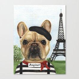 Chapo the French Mime Bulldog Bonejour! Canvas Print