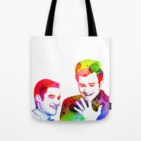 klaine Tote Bags featuring Joy in Color by Jen K