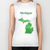 michigan Biker Tanks featuring Michigan Map by Roger Wedegis
