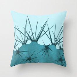 Teal Cactus Close-up Design Throw Pillow