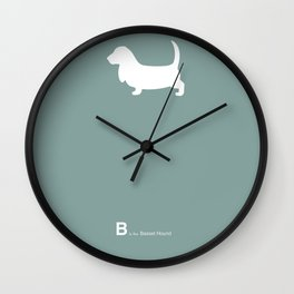 Basset Hound | Dogs series | Blue | Teal Wall Clock