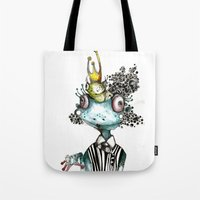 frog Tote Bags featuring frog by krigkou petroula