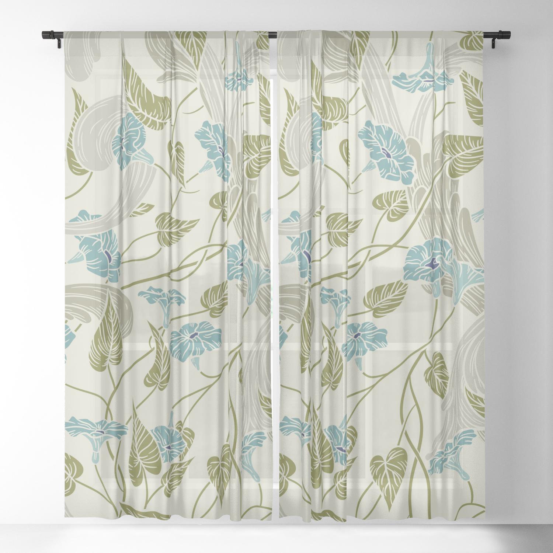 Mint Blue Green Fl Sheer Curtain