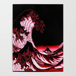 The Great Wave : Red & Black Poster