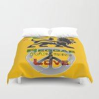 reggae Duvet Covers featuring Reggae, Music & Love by Gold Blood