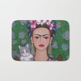Frida cat lover closer Bath Mat
