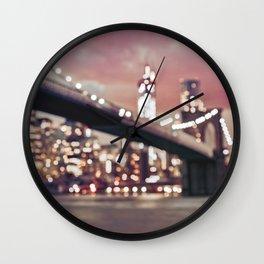 New York City Brooklyn Bridge Lights Wall Clock