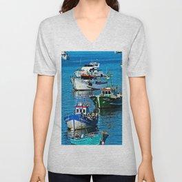 Anchored Fishing Boats Boatyard Unisex V-Neck