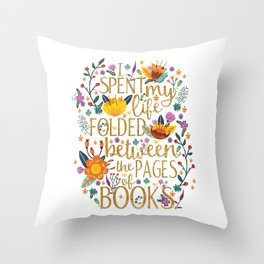 Folded Between the Pages of Books - Floral Throw Pillow