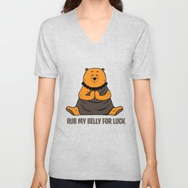 Luck Bear Buddhism Yoga love Zen Yang Gift Unisex V-Neck