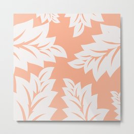 tropical coral leaves Metal Print