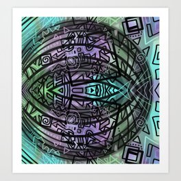 Tribal Fish drawing Art Print