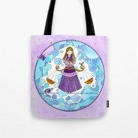libra Tote Bags featuring Libra by Sandra Nascimento