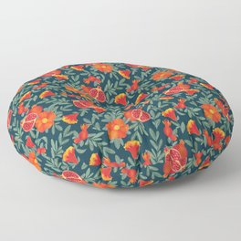 Pomegranate. Blue pattern Floor Pillow