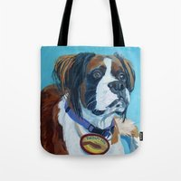 nori Tote Bags featuring Nori the Therapy Boxer by Barking Dog Creations Studio