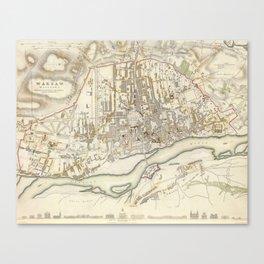 Vintage Map of Warsaw Poland (1831) Canvas Print