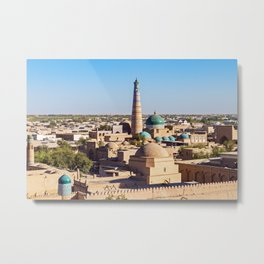 Panoramic view of Islam Khodja Minaret and mosque - Khiva, Uzbekistan Metal Print