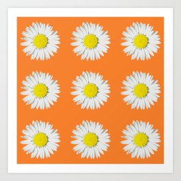 Retro Daisy · Orange Art Print