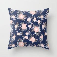 Floral bouquet pastel navy pink florals painted painted metallic pattern basic minimal pattern print Throw Pillow