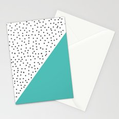 Geometric grey and turquoise design Stationery Cards