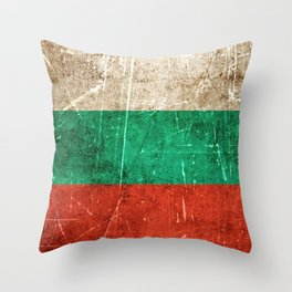 Vintage Aged and Scratched Bulgarian Flag Throw Pillow