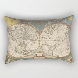 1672 World Polar Projection Map  Rectangular Pillow
