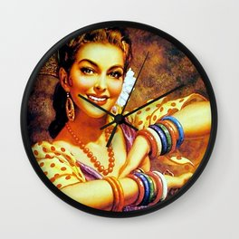 Jesus Helguera Painting of a Mexican Calendar Girl with Bangles Wall Clock