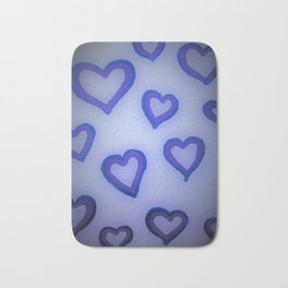 Blue Glow Hearts Bath Mat