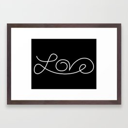 Love calligraphy print - Black background with white Framed Art Print