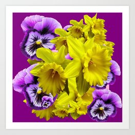 YELLOW SPRING DAFFODILS & LILAC PANSIES COLOR ART Art Print