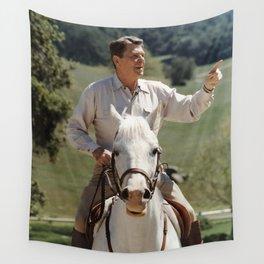 Ronald Reagan On Horseback Wall Tapestry