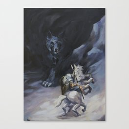 Odin and the Wolf Canvas Print