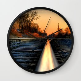 Down the Tracks Wall Clock