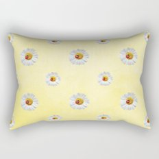 Daisies in love- Yellow Daisy Flower Floral pattern with Ladybug on #Society6 Rectangular Pillow
