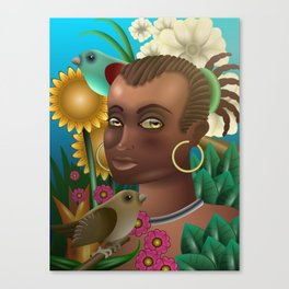 Flower girl in a tropical forest Canvas Print