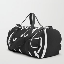 Namastay in Bed All Day - Yoga Quote - Black and white lettering - Hand Lettering Duffle Bag