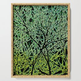 Tangled Tree Branches in Leaf and Lime Green Serving Tray