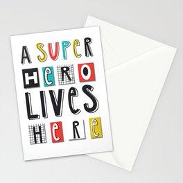 A SUPERHERO lives here Stationery Cards