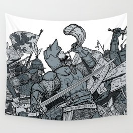 Saturday Knight Special STEEL BLUE / Vintage illustration redrawn and repurposed Wall Tapestry