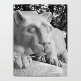 Penn State University Nittany Lion Statue Black White Side Poster
